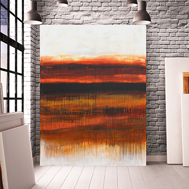 A very large brown, ocher & gold modern art painting layers and washes of colour merging to create a original abstract art painting for sale in a wave movement.