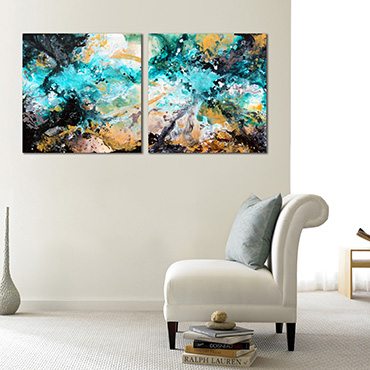 A swirling contemporary modern art painting in gold, turquise, grey and white