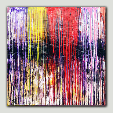 Deep in the Forest Modern art painting wall art painting has great impact with purple, white, yellow, red & pink lines running and dripping down the canvas