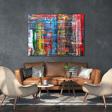 A very large drag style contemporary modern abstract painting in black, white, pink, red and yellow and green.