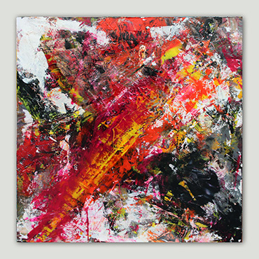 Firestarter a modern and contemporary multi coloured abstract painting in red, yellow, Grey black and white.