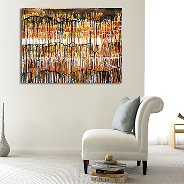 Golden Bayou a black, brown, white and gold flowing abstract painting inspired by the landscape of the American deep south.