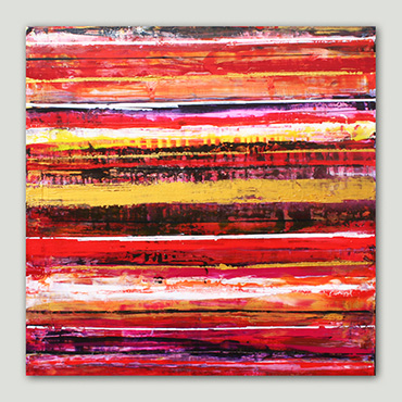 Indian Summer a modern abstract line painting in warm reds, golds, white & black