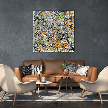 A very large drip style modern art paintings for sale in blue, silver, ocher, yellow and red inspired by the paintings of Jackson Pollock.