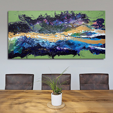 Malva Wave A highly detailed colourful abstract painting a bold wave effect in blues purples gold and pink