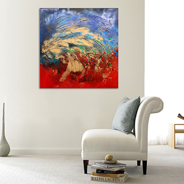 Moltan Waves a large wave inspired painting in reds & blues with accents of vibrant metallic gold