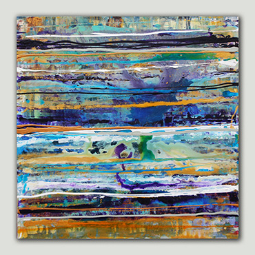 A blue & gold contemporary abstract painting inspired by waves and the sea