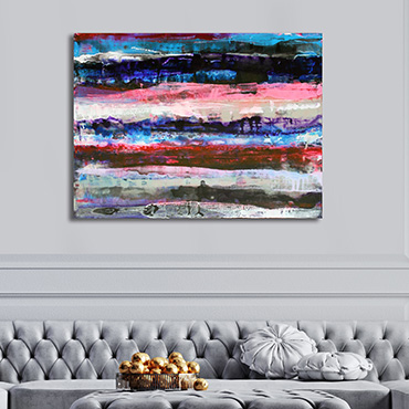 Pink Fathoms a very large abstract wave painting in black, white, grey, blue, pink and red.
