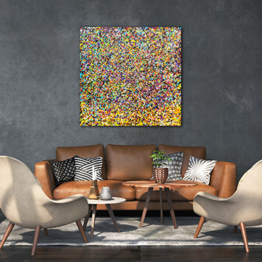 Rainbow Shower This modern art paintings for sale is inspired by all the colours of the Rainbow in small drips.