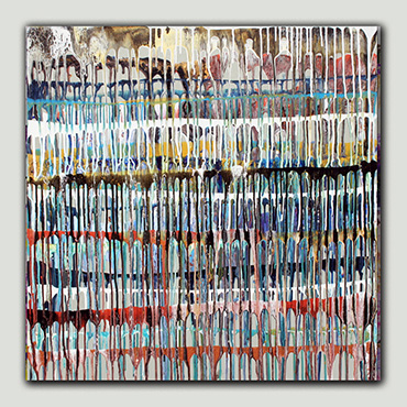A new modern and contemporary painting in metallics, white, grey, blue and black flowing and dripping lined creating amazing detail and movement.