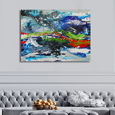 A large moody atmospheric abstract painting swirling blues, greys, white & silver with highlights of orange and green.